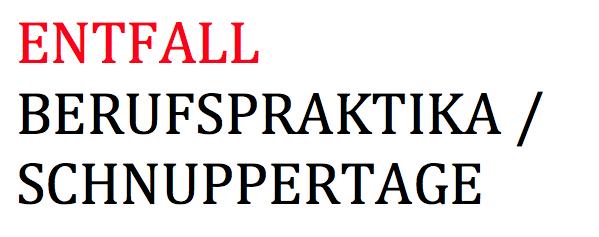 9. Elternbrief: Entfall Berufspraktika bzw. Schnuppertage (Stand: 30.03.2020)